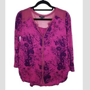 LUCKY BRAND henley floral chiffon trim blouse, Sm